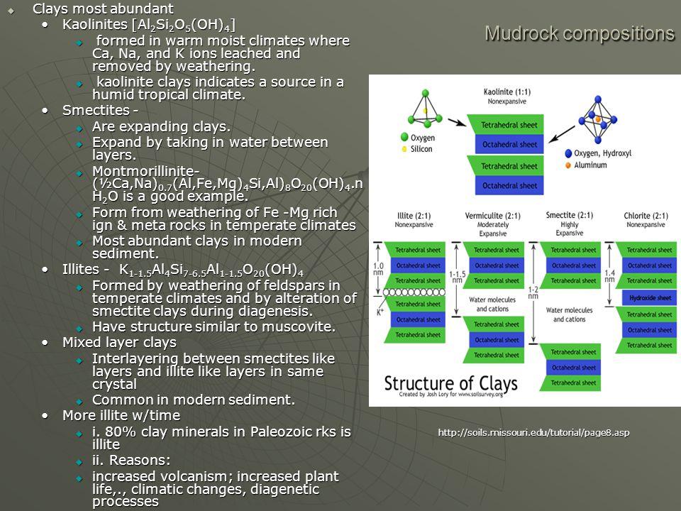 Mudrock compositions Clays most abundant Kaolinites [Al2Si2O5(OH)4]
